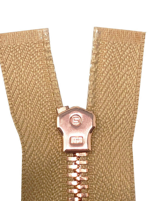 Glossy 5MM or 8MM One-Way Non-Separating Closed Bottom Zipper, Beige/Rose Gold | 5 Inch to 27 Inch Length