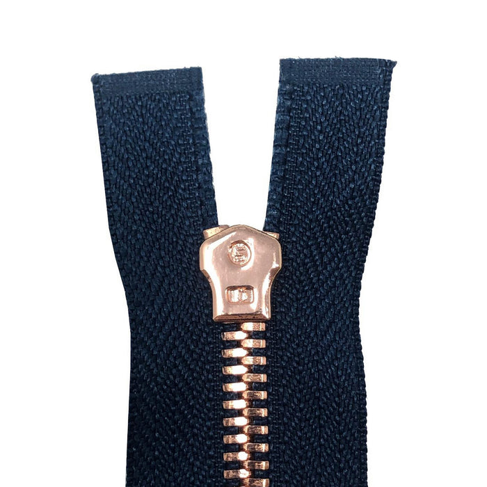 Glossy 5MM One-Way Non-Separating Closed Bottom Zipper, Navy/Rose Gold | 5 Inch to 27 Inch Length