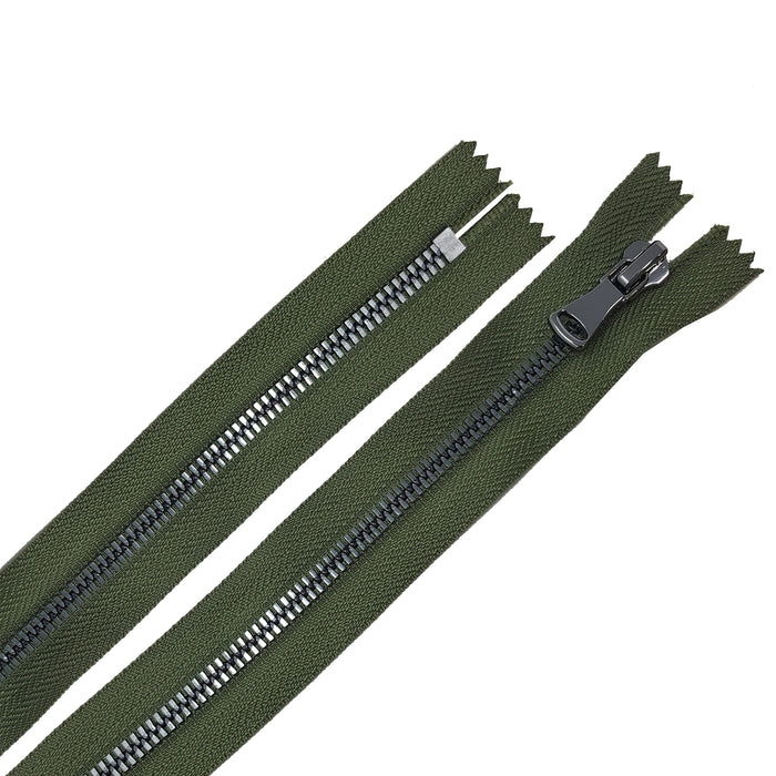 Glossy 5MM or 8MM One-Way Non-Separating Closed Bottom Zipper, Olive/Gun Metal | 5 Inch to 27 Inch Length