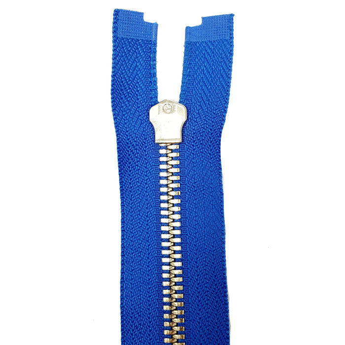 Glossy 5MM or 8MM One-Way Non-Separating Closed Bottom Zipper, Royal/Brass | 5 Inch to 27 Inch Length