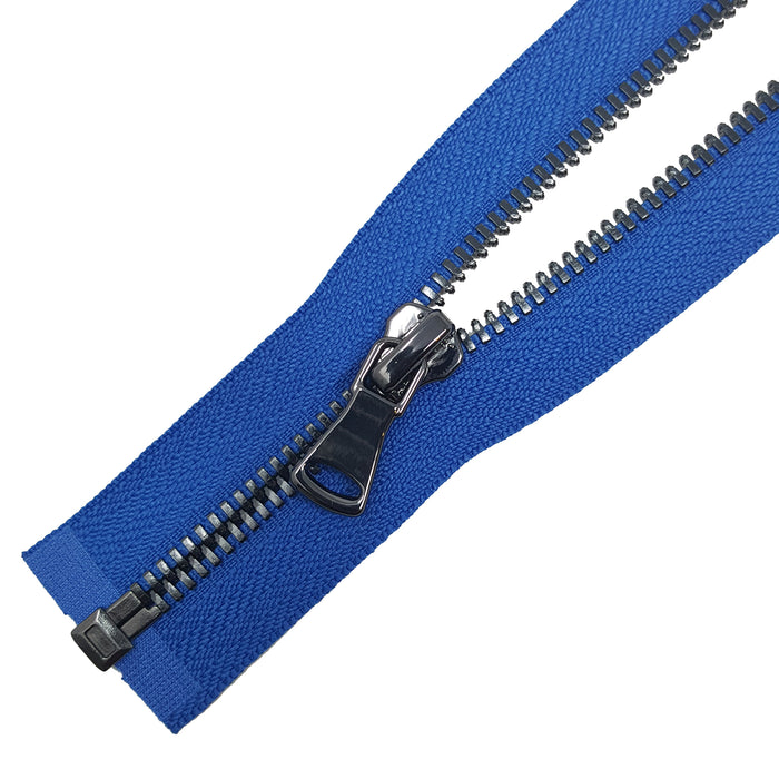 "Glossy Jacket Zipper Set in 5MM or 8MM Metal Teeth, One 18"" to 28"" Open Bottom and Two 7"" Pocket Closed Bottom Zippers, Royal Blue/Gun Metal"