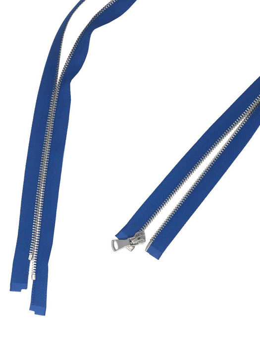 "Glossy Jacket Zipper Set in 5MM Metal Teeth, One 18"" to 28"" Open Bottom and Two 7"" Pocket Closed Bottom Zippers, Royal Blue/Nickel"