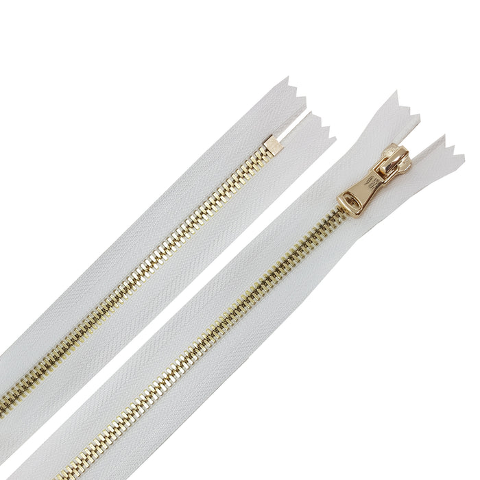 Glossy 5MM or 8MM One-Way Non-Separating Closed Bottom Zipper, White/Brass | 5 Inch to 27 Inch Length
