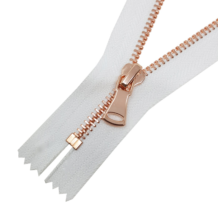 Glossy 5MM or 8MM One-Way Non-Separating Closed Bottom Zipper, White/Rose Gold | 5 Inch to 27 Inch Length