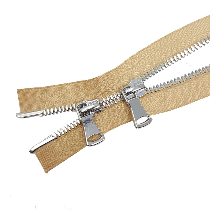 Glossy 8MM Two-Way Separating Open Bottom Zipper, Beige/Nickel | 4 Inch to 36 Inch Length
