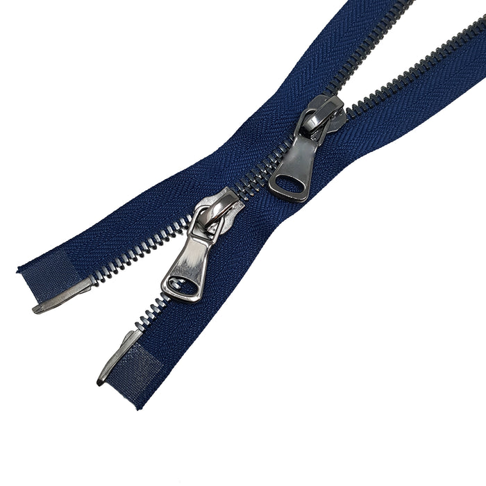 Glossy 5MM or 8MM Two-Way Separating Open Bottom Zipper, Navy/Gun Metal | 11.5 Inch to 36 Inch