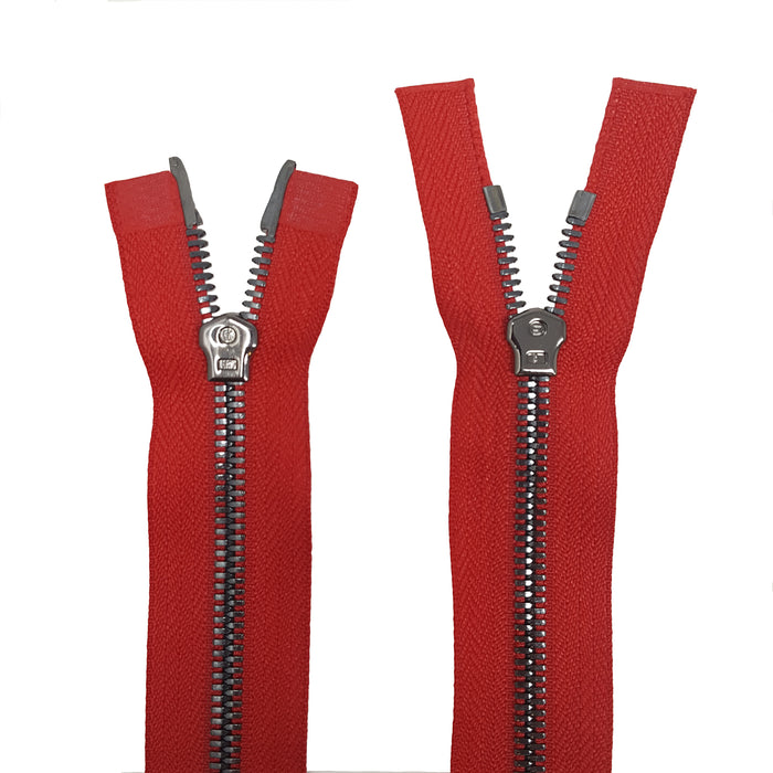 Glossy 5MM or 8MM Two-Way Separating Open Bottom Zipper, Red/Gun Metal | 4 Inch to 36 Inch