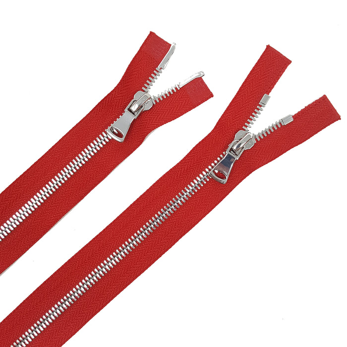 Glossy 5MM or 8MM Two-Way Separating Open Bottom Zipper, Red/Nickel | 11.5 Inch to 36 Inch