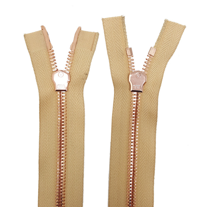 Glossy 8MM Two-Way Separating Open Bottom Zipper, Beige/Rose Gold | 4 Inch to 36 Inch Length