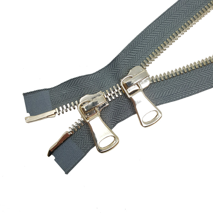 Glossy 8MM Two-Way Separating Open Bottom Zipper, Gray/Brass | 4 Inch to 36 Inch