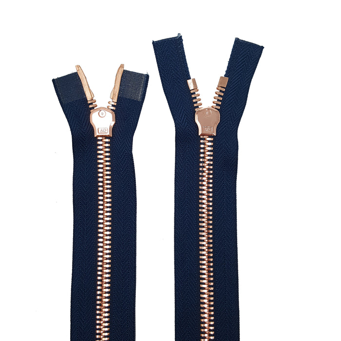 Glossy 8MM Two-Way Separating Open Bottom Zipper, Navy/Rose Gold | 4 Inch to 36 Inch Length