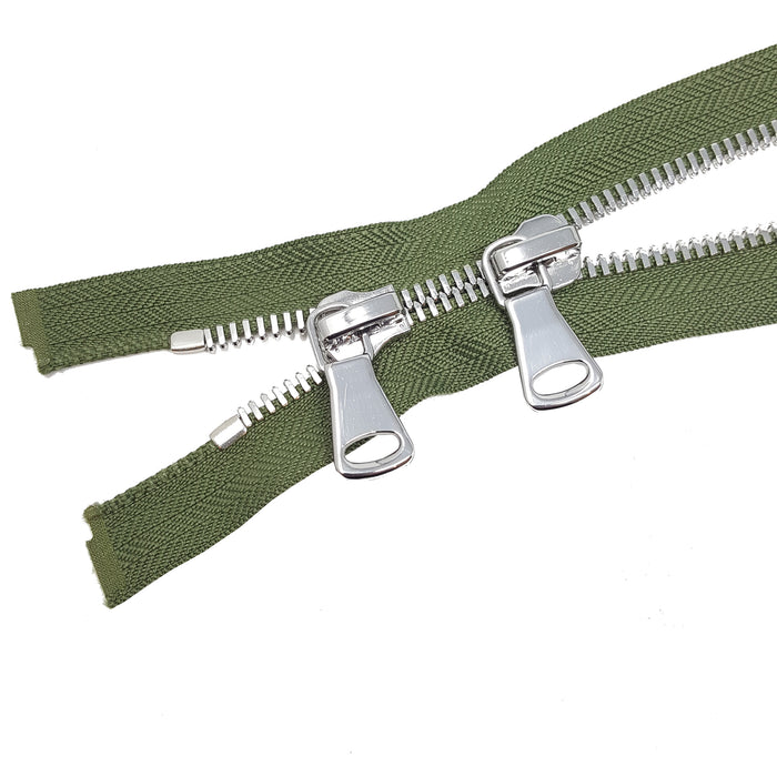 Glossy 8MM Two-Way Separating Open Bottom Zipper, Olive/Nickel | 4 Inch to 36 Inch Length