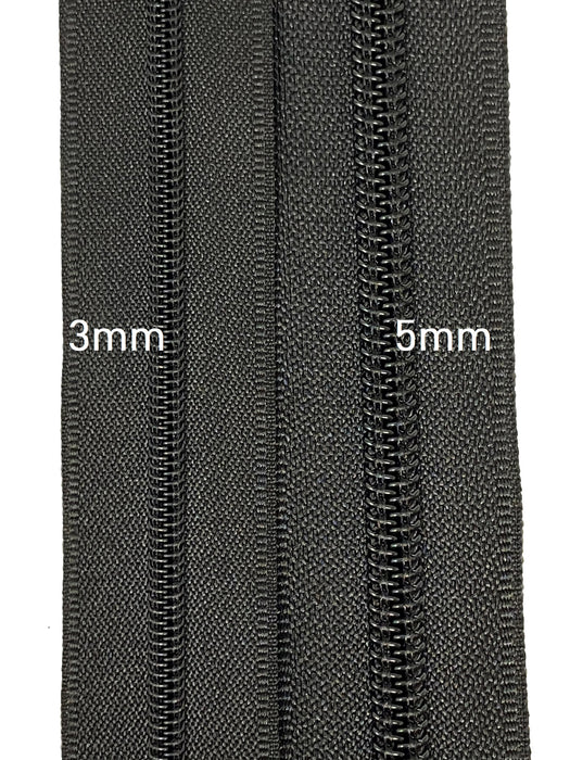 Zip-Up 7 Inch 3MM or 5MM Teeth Water Resistant One-Way Closed End Zipper, Black/Black