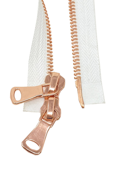 Glossy Metal 5MM or 8MM Teeth Two-Way Separating Open Bottom Zipper, White/Rose Gold | 10 Inch to 28 Inch