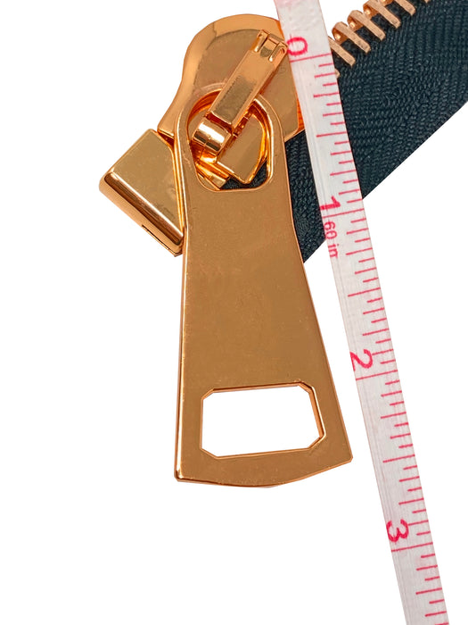 Zip Up Glossy 15MM One-Way Separating Open Bottom Zipper Black Tape Rose Gold Teeth