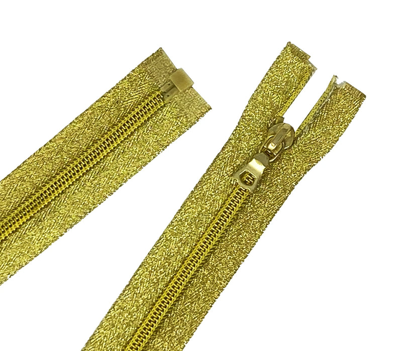 Metallic Gold 5MM Jacket Coil Zippers 22, 24, 26 inches Open Bottom