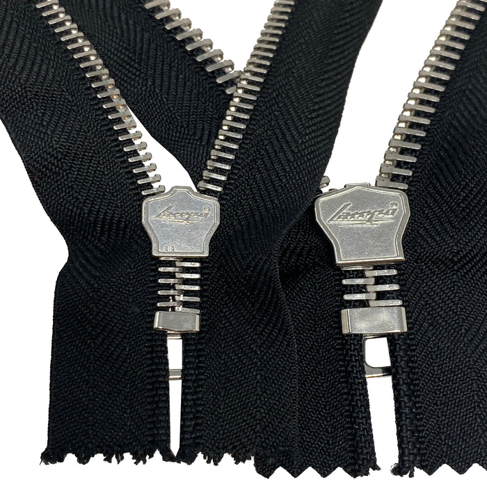 Lampo Black Tape Nickel Teeth T5 OR T8 Pocket Non-Separating Zipper 7 inches