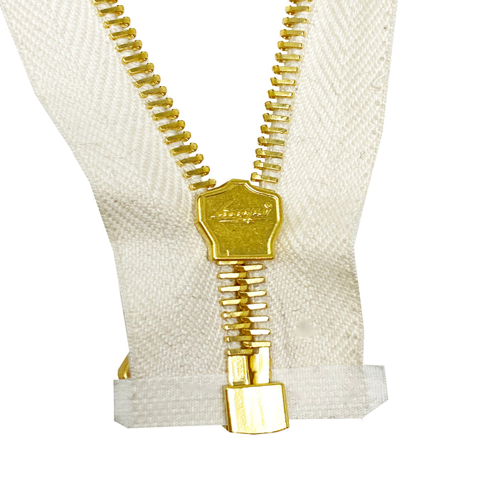 Lampo PFD White Cotton Tape Brass Teeth T5 Jacket Separating Zipper -Choose Length-