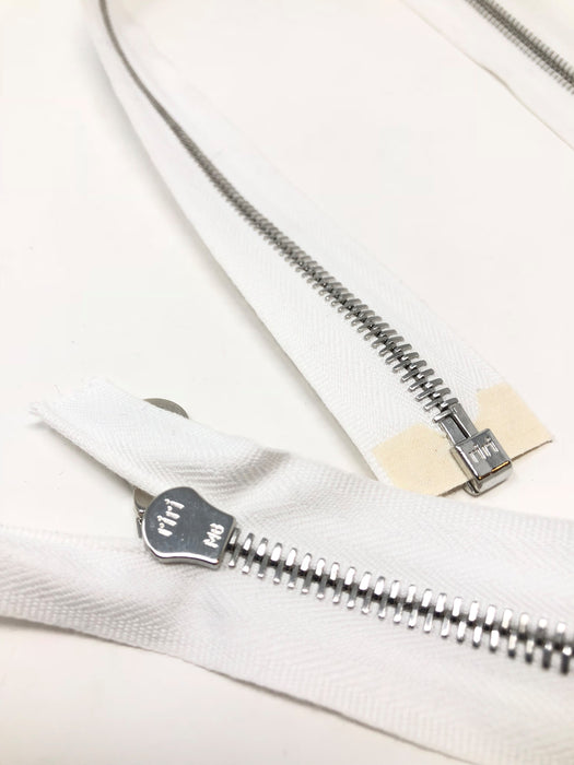 White Riri Jacket Zipper 6MM Silver Finish Separating - Choose Length - - ZipUpZipper