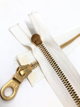 White Riri 8MM 27.5 Inch Jacket Zipper Gold Teeth Two-Way Separating