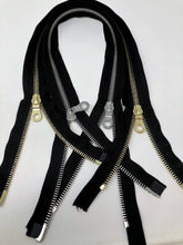Black Riri Zipper 27.5 Inches Brass or 29 Inches Nickel 8MM Two-Way Separating