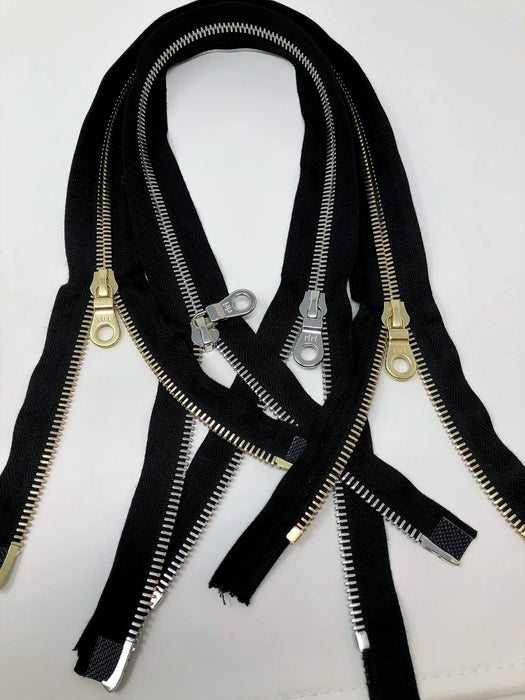 Black Riri Zipper 27.5 Inches Brass or 29 Inches Nickel 8MM Two-Way Separating - ZipUpZipper