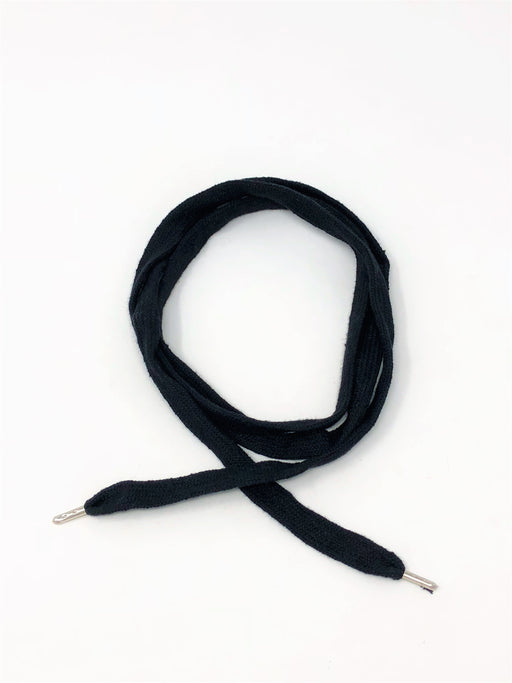 Wholesale Black Flat Cotton Drawstring Cord Silver Round Metal Tip - ZipUpZipper