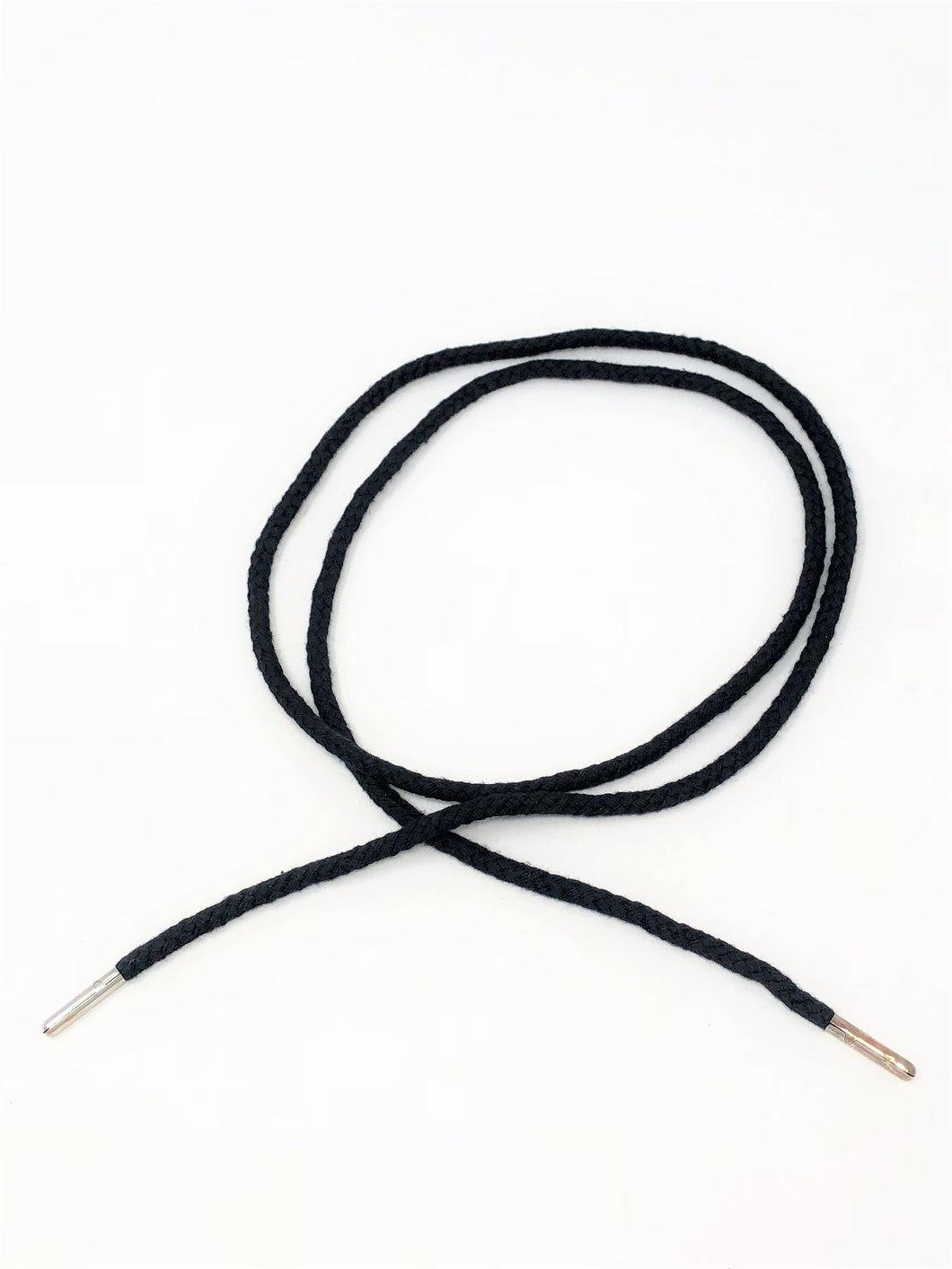 Wholesale Black Round Cotton Drawstring Cord Silver Round Metal Tip
