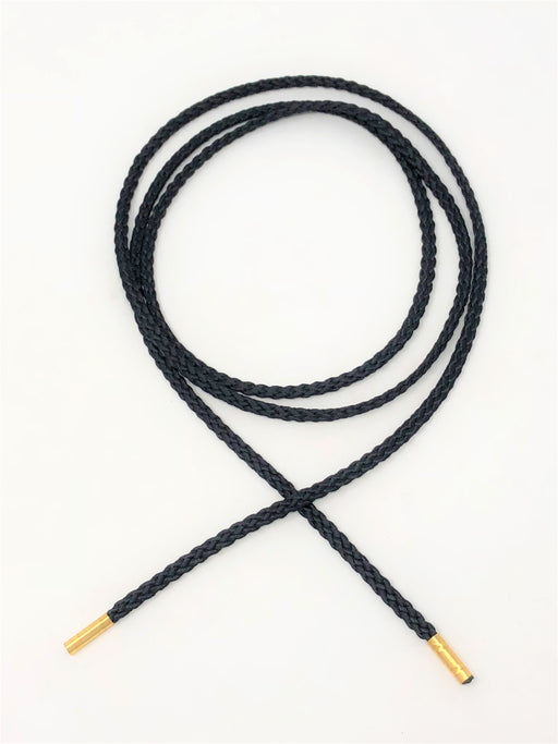 Wholesale Black Round Polyester Drawstring Cord Gold Round Metal Tip - ZipUpZipper