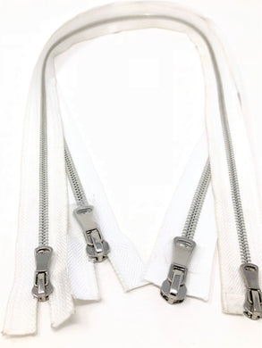 Wholesale White Glossy Silver Two-Way Separating Zipper in 5MM or 8MM Open Bottom - Choose Length -