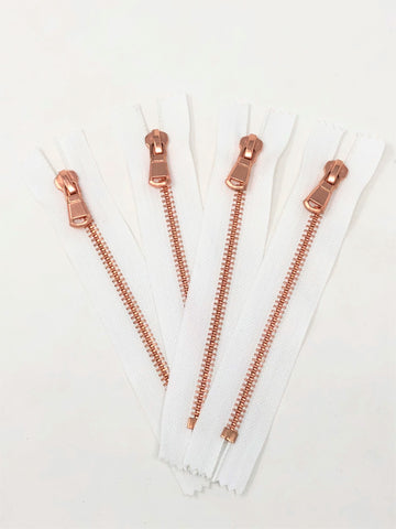 White Glossy Pocket Zipper Rose Gold Teeth 5MM in 5.5 inches Closed Non Separating - ZipUpZipper