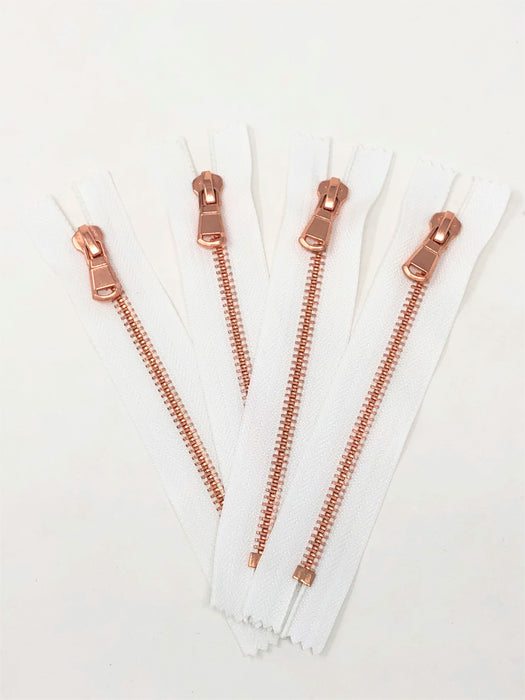 Wholesale White Glossy Pocket Zipper Rose Gold Teeth 5MM or 8MM Closed Non Separating - ZipUpZipper