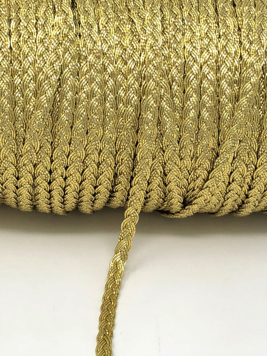 Flat Braid Gold Metallic Trim - Full Roll - - ZipUpZipper