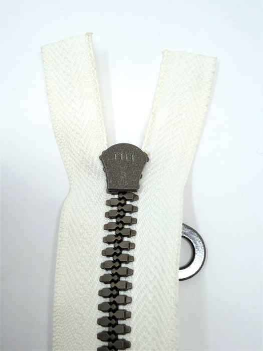 Off White Riri Zipper Plastic Molded Brown Teeth 3 in 25 Inches Open Bottom Separating - ZipUpZipper