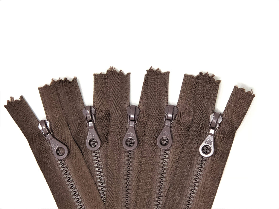 Brown Riri Pocket Zipper D4 Plastic Molded 6 OR 7 Inches Closed Bottom Non-Separating - ZipUpZipper