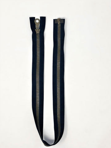 Black Riri Zipper 25.5 Inches Plastic Molded 3 Brown Teeth Separating Open Bottom - ZipUpZipper