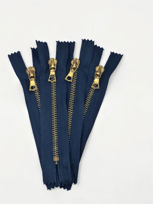 Navy Riri Rusted Pocket Zipper 5 Inches Closed Bottom FLACH Puller Brass Teeth - ZipUpZipper