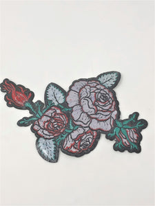 "Red Rose Bunch Iron On 9"" Wide"