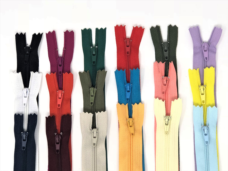 50 YKK Nylon Zippers 9 Inches Coil #3 Closed Bottom Assorted Colors