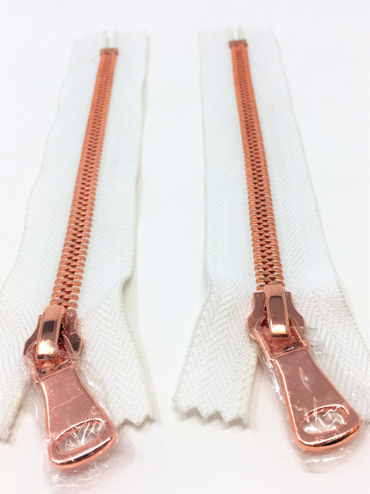Wholesale White Glossy Rose Gold Two-Way Separating Zipper in 5MM or 8MM Open Bottom - Choose Length - - ZipUpZipper