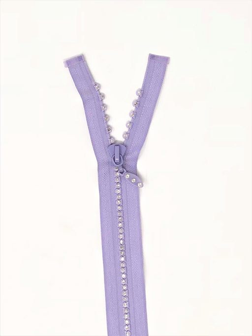 Purple Rhinestone Jacket Zipper 12 inches Plastic Molded 5MM Separating - ZipUpZipper