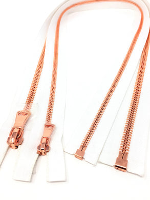 Wholesale White Glossy One-Way Jacket Zipper 5MM OR 8MM Rose Gold Teeth Separating - Choose Length -