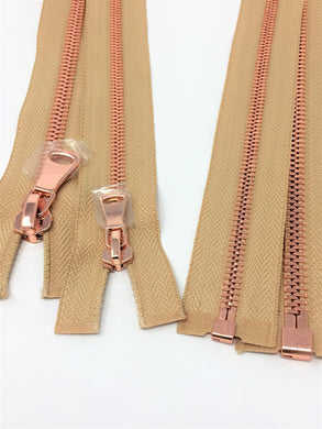 Wholesale Beige Glossy One-Way Jacket Zipper 5MM OR 8MM Rose Gold Teeth Separating - Choose Length -