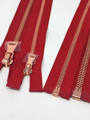 Wholesale Red Glossy One-Way Jacket Zipper 5MM OR 8MM Rose Gold Teeth Separating - Choose Length - - ZipUpZipper