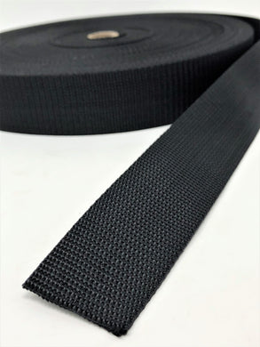 Black Polyester Webbing 1 Inch, 1.5 Inches, 2 Inches 50 Yards Full Roll