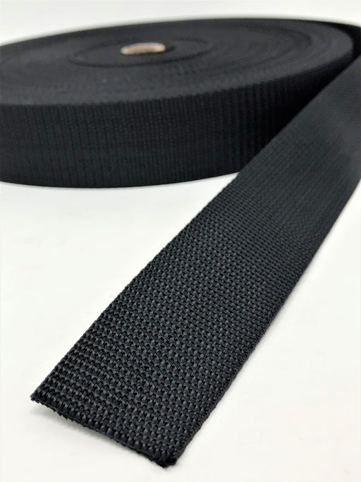 Black Polyester Webbing 1 Inch, 1.5 Inches, 2 Inches 50 Yards Full Roll - ZipUpZipper