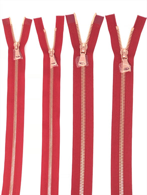 Wholesale Red Glossy Rose Gold Two-Way Separating Zipper in 5MM or 8MM Open Bottom - Choose Length -
