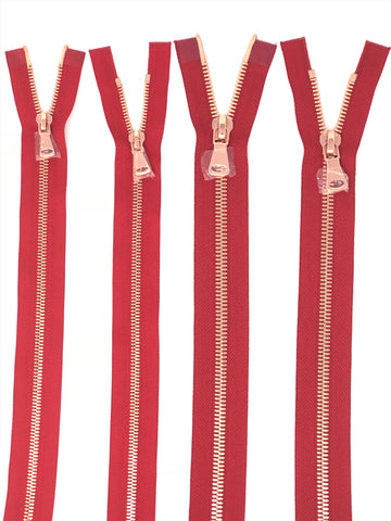 Wholesale Red Glossy Rose Gold Two-Way Separating Zipper in 5MM or 8MM Open Bottom - Choose Length - - ZipUpZipper