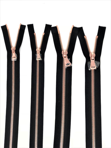Wholesale Black Glossy Rose Gold Two-Way Separating Zipper in 5MM or 8MM Open Bottom - Choose Length - - ZipUpZipper