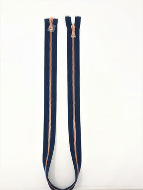 Wholesale Navy Glossy Rose Gold Two-Way Separating Zipper in 5MM Open Bottom - Choose Length -